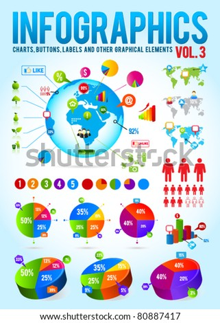 Colorful infographic vector collection with charts, labels and other graphic elements - stock vector