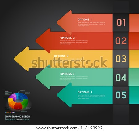 Colorful Infographics Number Options Banner & Card. Vector illustration - stock vector