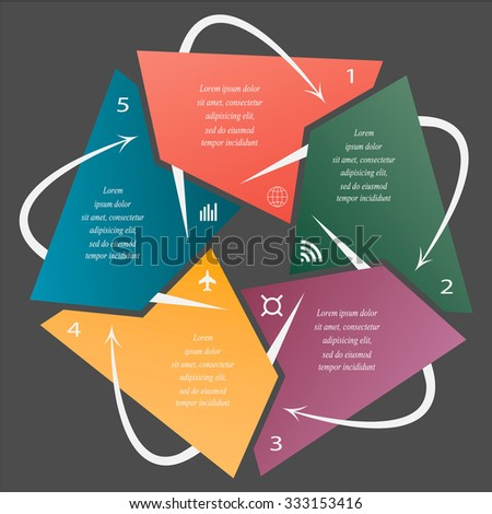 Colorful infographics template for business with 5 options or steps. Vector illustration can be used for infographic, banner, poster, web design, brochure, diagram, graph, presentation and chart - stock vector