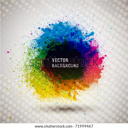 Colorful ink splash banner. - stock vector