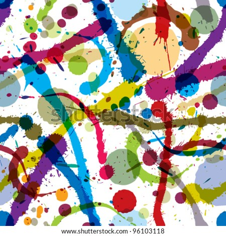 Colorful ink splatters and drops seamless pattern, artistic vector background. - stock vector