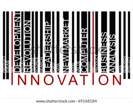colorful INNOVATION text barcode, vector - stock vector