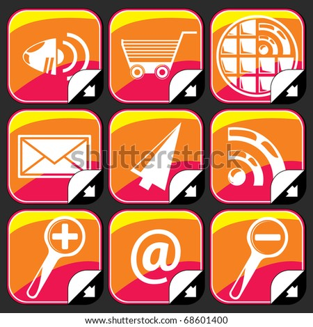 Colorful Internet icons on black background - stock vector