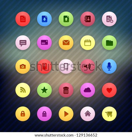colorful Internet round icons set for Web Applications - stock vector