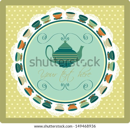 Colorful invitation card with teapots and cups for tea party - stock vector