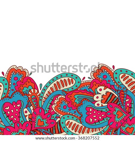 Colorful invitation card with white background and colorful floral pattern on it. Ideal for party, children birthdays and other funny cheerful events. - stock vector