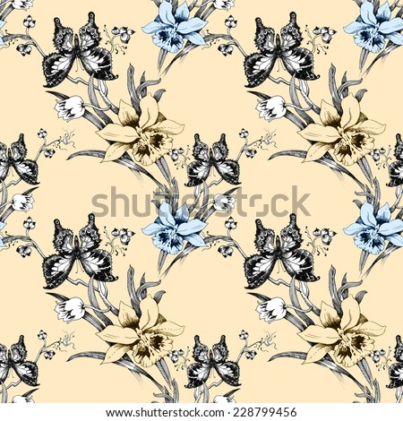 Colorful iris seamless pattern with butterflies and flowers on beige background vector illustration - stock vector