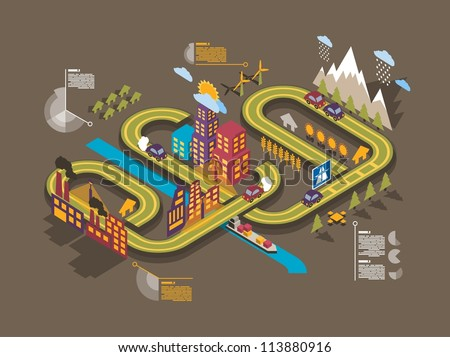 Colorful isometric city, vector background, ecology info graphics