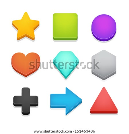 Colorful isometric shapes pack 1 isolated on white. Vector illustration.  - stock vector