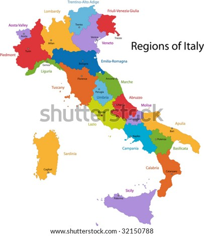 Colorful Italy map with regions and main cities - stock vector