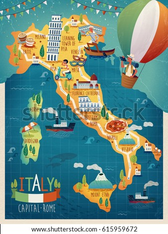 Colorful Italy Travel Map Attraction Symbols Stock Vector 615959672