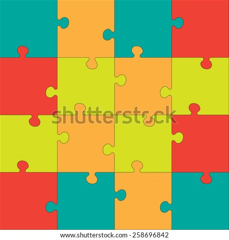 Colorful Jigsaw  puzzle. Every piece is a single shape. Seamless puzzle texture. Puzzle template. Cutting guidelines. Eps 8 - stock vector
