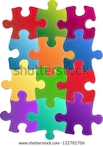 Colorful Jigsaw Puzzle Vector Illustration, EPS 10. - stock vector