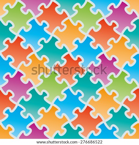 Colorful jigsaw puzzles. 3d seamless background. Vector EPS10. - stock vector