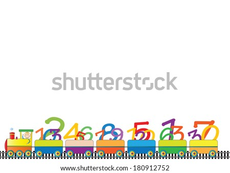 Colorful kids border with engine and numbers - stock vector