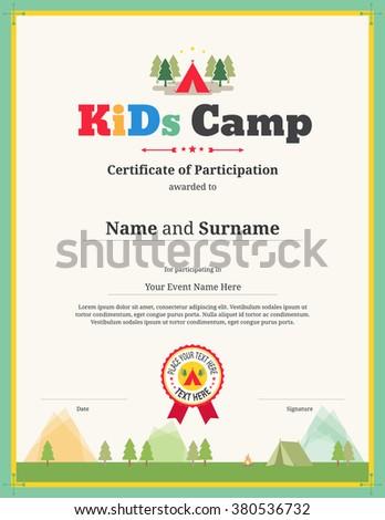 certificate template for kids - colorful kids certificate template portrait children stock