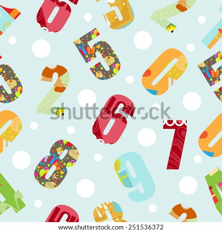 colorful kids number seamless pattern. vector illustration - stock vector