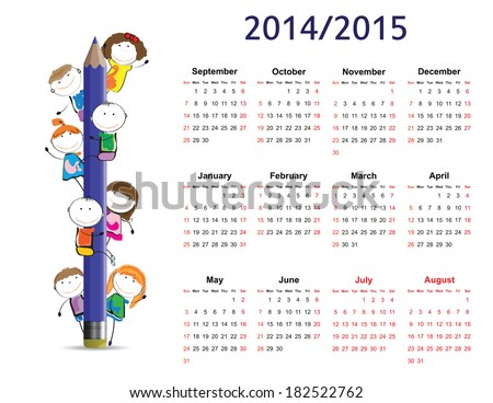 Colorful kids school calendar from 2014 to 2015 - stock vector