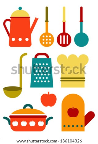 Colorful kitchen utensil set isolated on white background - stock vector
