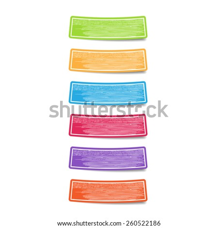 Colorful label paper with hand drawn texture. Vector - stock vector