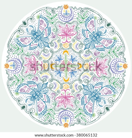 Colorful Lacy Indian Style Mandala. Hand drawn zen art with night moths, lotuses, moons and plants. Vintage round design element for decor and t-shirt fashion design. Vector is EPS8. - stock vector