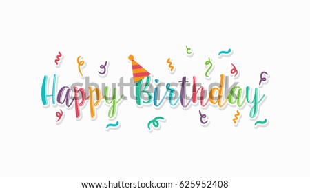 colorful letter happy birthday wallpaper banner stock vector