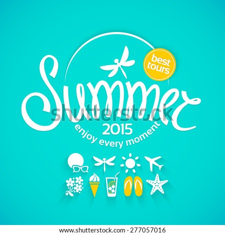 Colorful lettering summer and white icons set on turquoise background for promotions of the best tour - stock vector