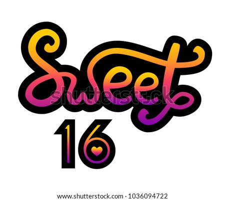 colorful lettering sweet 16 hand sketched stock vector 1036094722 rh shutterstock com sweet sixteen clip art free
