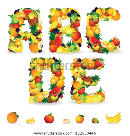 Colorful Letters from Fruit and Berries. Vector Clip Art for your Design or Logos - stock vector