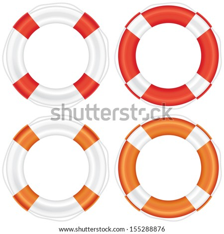 Colorful lifebuoy set with stripes and rope (life salvation). Isolated on white background. Vector illustration. - stock vector
