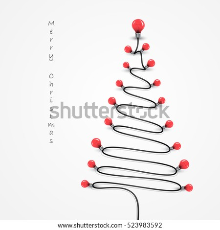 Colorful light bulbs and Christmas tree symbol .Merry christmas abstract background.Design for Christmas postcard, Merry Christmas icon,logo or Merry Christmas background.Vector illustration