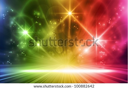 Colorful light show. Multicolored light effects background for any magical event full of  energy. Space for you message. EPS10 - stock vector