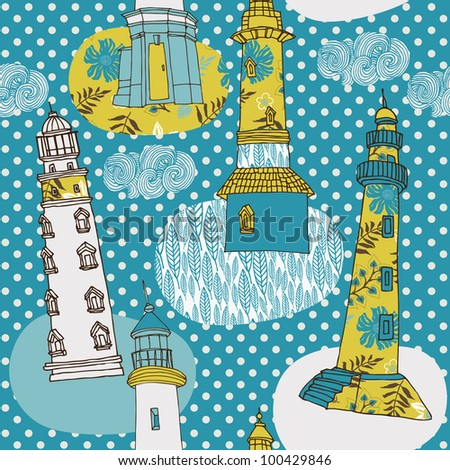 colorful lighthouses - stock vector
