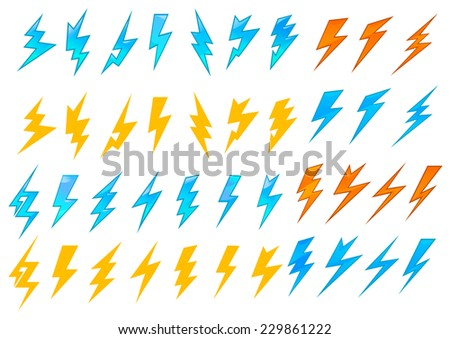 Colorful lightning bolts or electrical icons showing various zigzag patterns in red, orange and blue, vector illustration on white - stock vector