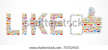 Colorful like button made out of colorful social people - stock vector