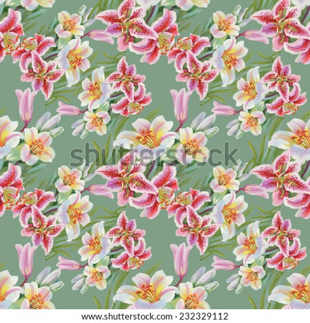 Colorful lily flowers seamless pattern on green background vector illustration - stock vector
