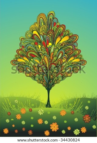 colorful line-art tree on a sunny meadow with flowers - stock vector