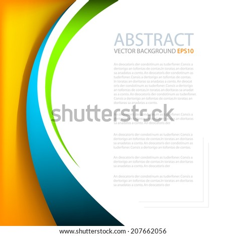 Colorful line blue orange green on white space for text and message modern artwork design - stock vector