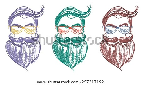Colorful Line Drawing of Three Lumbersexuals