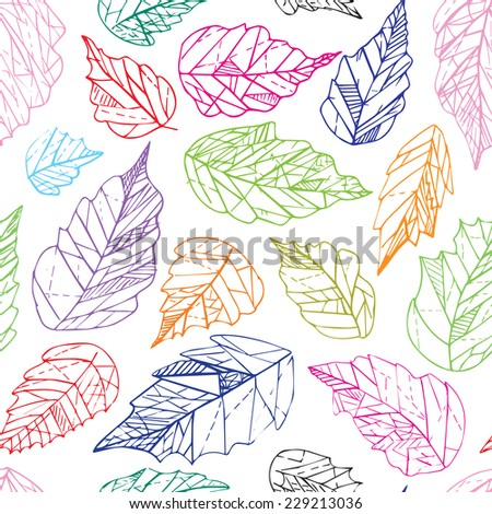 Colorful lineart geometric leaves seamless pattern - stock vector