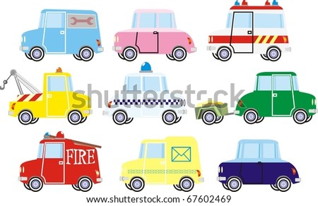 Colorful little cars vector illustration set - stock vector