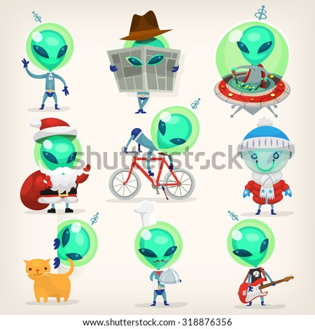 Colorful little green aliens with huge heads under disguise mastering earth traditions and doing it wrong. Isolated vector cartoons - stock vector
