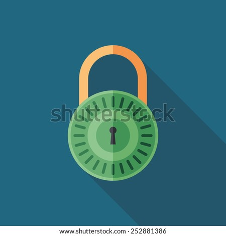 Colorful lock flat square icon with long shadows. - stock vector