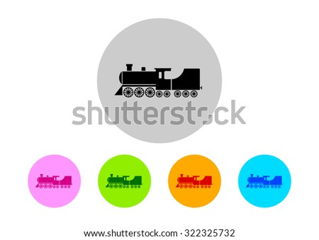Colorful locomotive icons on white background    - stock vector