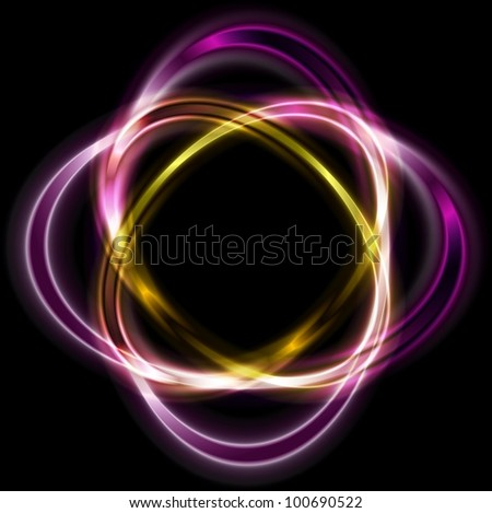 Colorful logo. Bright violet and orange shapes. Eps 10 vector - stock vector