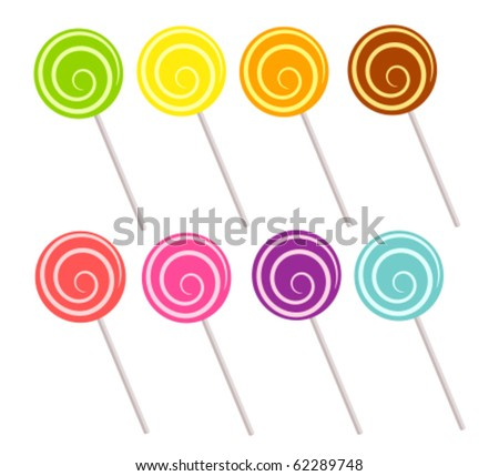 Colorful lollipop collection. Vector illustration - stock vector