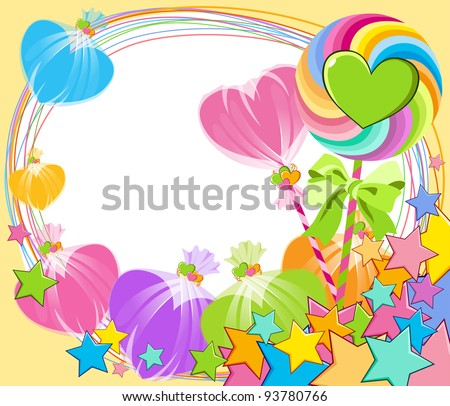 colorful lollipop in the shape of a heart - stock vector