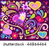 Colorful love doodle - stock vector