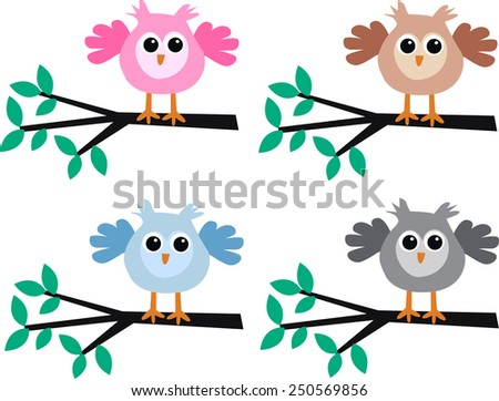 colorful lovely owls - stock vector