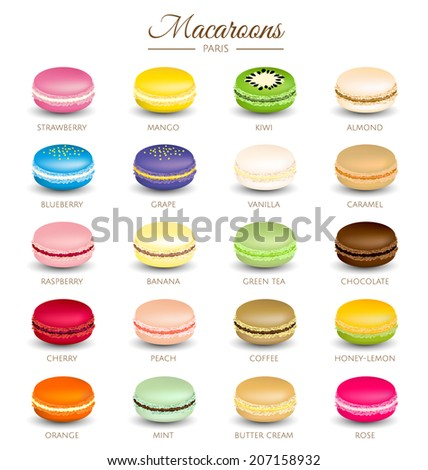 Colorful macaroons flavors vector - stock vector